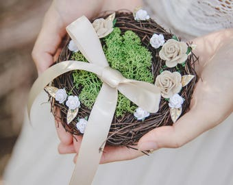 birds nest ring bearer pillow - rustic wedding flower ring bearer pillow, birds nest ring pillow, woodland wedding, forest wedding