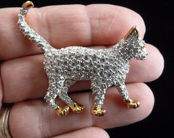 Purrrfect Swarovski Crystal Gold Tone Green Eyed Kitty Cat Brooch Pin
