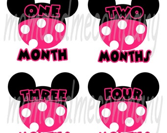 Baby Month Stickers Baby Shower gift girl Month stickers Infant month stickers Milestone Monthly Onepiece stickers Baby Girl Mouse