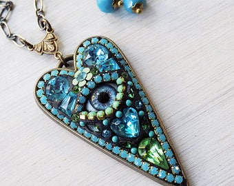 Mosaic Necklace - Evil Eye Necklace - Heart Mosaic Necklace - blue Green Mosaic Necklace - Evil Eye Heart - Mint Turquoise Mosaic Necklace