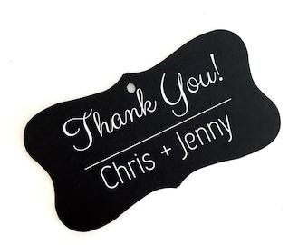 Thank You Personalized Favor Tags, Black Wedding Tags, Custom Wedding Favor Tags  (FR-003-WT)