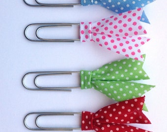 Polka dots planner clips, Bias tape bible clip, set of 4 paper clips, book page marker, colourful planner acessory, teacher gift pc040