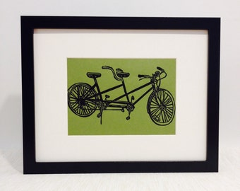"Tandem Bicycle handmade linocut print 5x7"" - unframed (moss green). home decor, wall art, birthday gift, bicycle art, bike art, wedding gift"
