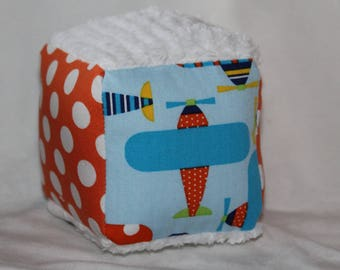 Small Ready, Set, Go Airplanes Chenille Fabric Block Rattle