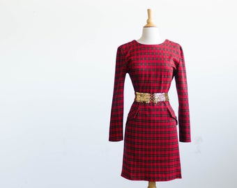 Red Plaid Dress- Holiday Party Fashion - Knee Length- Long Sleeve - Soft Knit - Size Small - Medium