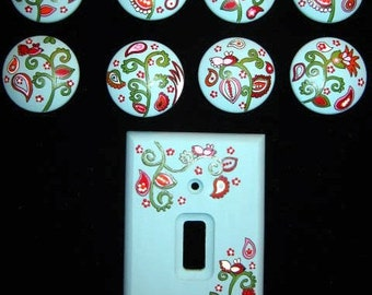 TURQUOISE Paisley Design - NEW COLORS - Set of 8 Knobs and Single Switchplate Cover