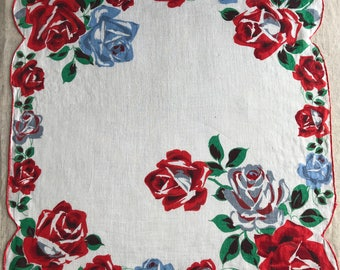 Vintage Red and White Floral Handkerchief 1615