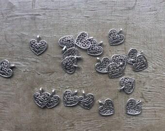 Set of 20 silver heart pendant charm size 1.5 cm