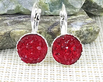 Red Druzy Earrings - Drusy - Leverback Earrings - Prom Earrings - Red Earrings - Druzy - Jewelry for Prom - Drop Earrings - Red - Earrings -