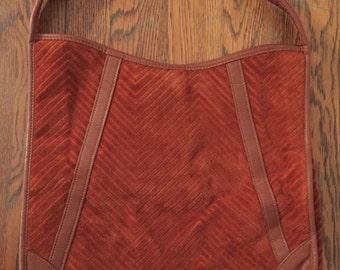 Vintage Victoria USA Burnt Orange Velour Fabric Handbag • Boho • Hippie • 1970's • Festival • Fall