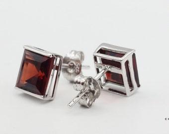 Garnet Square   Garnet Earrings   Garnet Stud Earrings   Red Stud Earrings   Red Stone Earrings   Sterling Silver Earrings