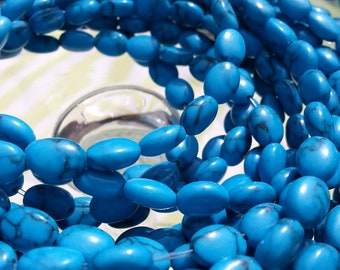 Turquoise/Black Oval Flat Beads 8 mm