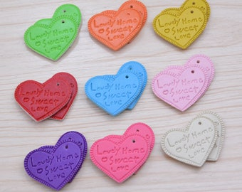 50 Assorted color Leather Hearts, Leather Hearts pendants, Leather Decoration, keychain heart drops, DIY Project, Word carved heart keychain