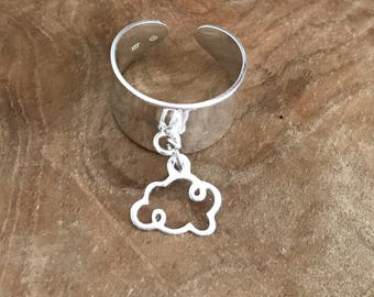 Cloud shaped charm with 925 sterling silver ring / adjustable size
