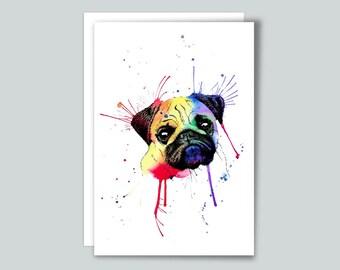 Rainbow Pug Watercolour Art Print Greetings Card