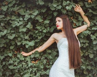 Long Lace Wedding dress / Fitted Wedding Dress / Mermaid Wedding Dress with sweetheart neckline