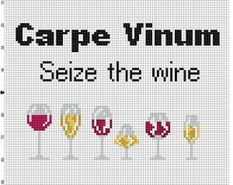 Carpe Vinum - Seize the Wine - Funny Wine Cross Stitch Pattern - Instant Download
