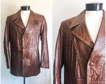 70s Leather Jacket / Cabretta Leather by Grais / 1970s Brown Blazer / 70s Oxblood Brown Leather Blazer / Size 40 Reg