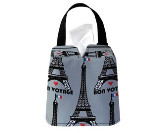 Auto Sneeze Box - Eiffel Tower Paris - Light Grey - Car Accessory Automobile Caddy Tissue Case Travel Road Roadtrip Europe