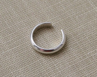 Sterling Silver Ear Cuff Fake Nose Ring- Half Round 1.5mm