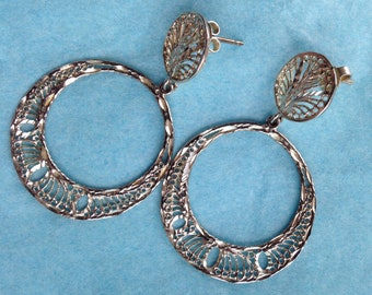 Vintage sterling circle dangle earrings