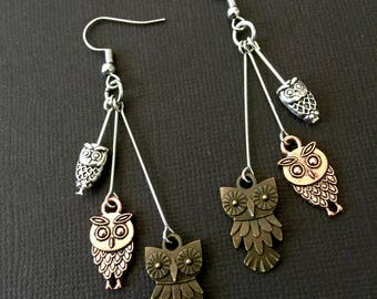 Tri-Colored Steampunk Owl Dangle Earrings / Owl Earrings, Owl Jewelry, Steampunk Owls, Gifts for Owl Lovers, Owl Gifts, Vintage owl (A)