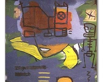 Boy Wonder - graffiti abstract painting - 20 x 20
