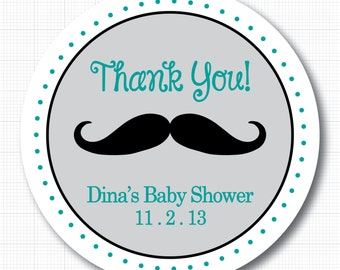 Personalized Mustache Baby Shower Stickers or Tags
