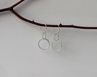 Silver Circle Earrings, Circle Drop Earrings, Sterling Silver Earrings, Dangle and Drop Earrings, Double Hoop Earrings, Silver Hoop Earrings