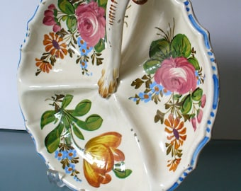 Vintage Made in Italy Pottery Divided Serving Plate