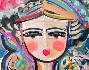Abstract Portrait PRINT, paper or canvas, Warrior Girl, woman portrait, KIEL
