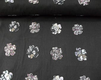 Cotton Fabric Black po-092369 with sewn flowers