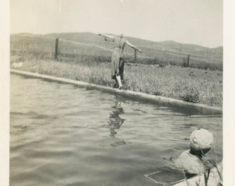 vintage photo 1909 Englewood CA Home Made Swimming Pool on Farm Abstract Women from Back
