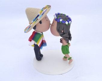 Cute couple forehead kiss. Groom with Sarape and Sombrero - Hula Dancer Bride. Wedding cake topper. Handmade