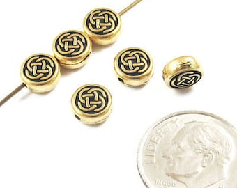 Pewter Coin Beads-Gold Small CELTIC CIRCLE KNOT (6)
