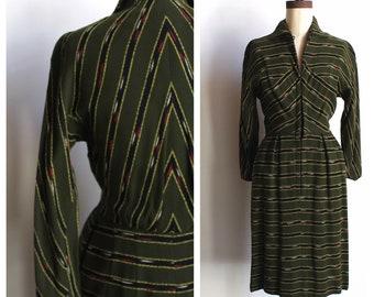 1950s Chimayo Striped Olive-Green Wool Wiggle Dress by De De Johnson