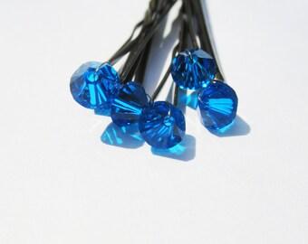 Bright Blue Crystal Hair Pins (set of six) Capri Swarovski Wedding Hair Accessory Bobby Pin