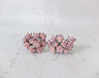20 10mm purple pink paper roses - 1 cm paper roses - mulberry paper flowers with wire stems