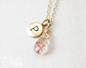 Peach Sunstone Necklace - Initial Charm Necklace - Personalized Gifts