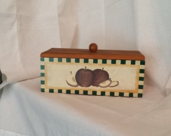 wooden box, apples, country, primitive, folk, cottage chic