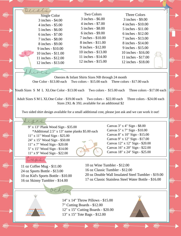 Summer Camp Price List Indian Theme Arrows Price List