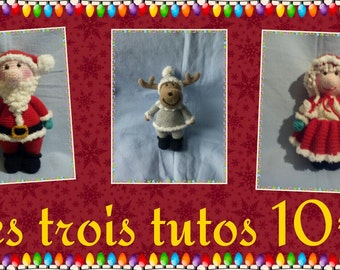set of three tutorials of Christmas