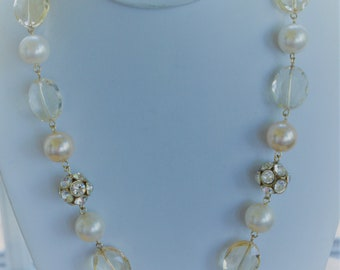 "Faux Pearl, Faux Crystal, Rhinestone Beaded Necklace, Adjustable, 18-1/2""-22"", Vintage (F12)"