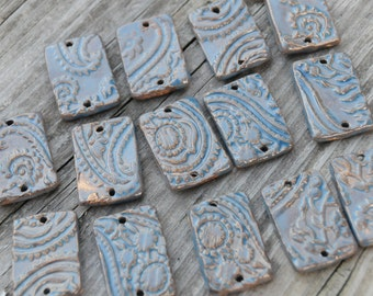 2 Large Rectangle Flat Beads in Blue Grotto with Paisley Pattern