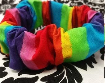 Rainbow scrunchie, hair tie, 90s fashion, super cute scrunchie, rainbow hair accessory, rainbow hair tie, rainbow, colorful,  scrunchie