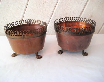 Vintage copper bowl, footed metal bowl, decorative bowl, catch all, what not bowl, mid century, rustic, distressed