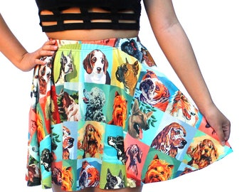 Vintage Paint by Number Dogs Skater Skirt - printed full-circle mini skirt - USA XS-3XL