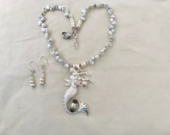 Mermaid Keishi Pearls Necklace Moobstone Earring Set