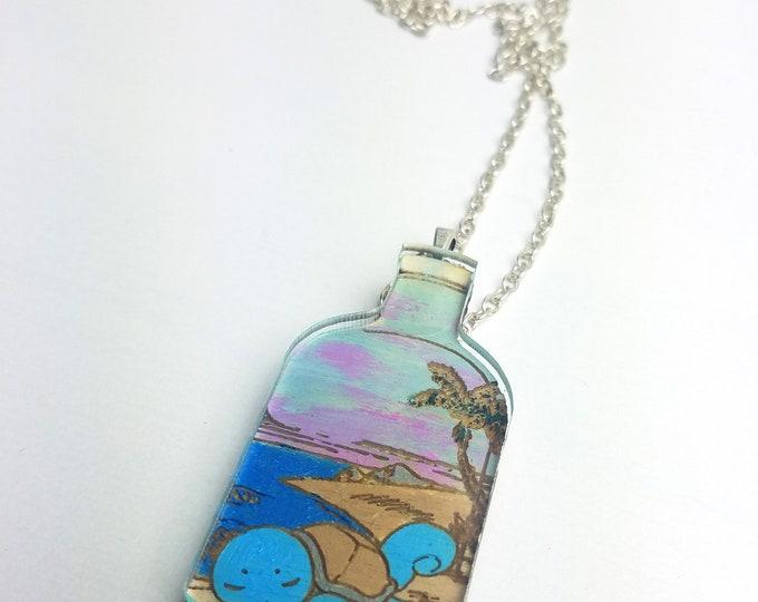 Sleeping Squirtle Succulent Bottle Terrarium Pokemon Inspired Necklace | Laser Cut Jewelry | Handmade Necklace