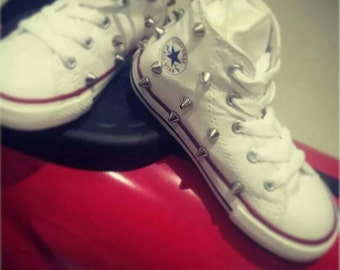 Spiked converse, studded converse, kids shoes, kids converse, embellished converse, spiked chuck taylors, kids chuck taylors, converse shoes
